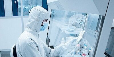 Cleanroom for cytostatics laboratory, GMP A in C