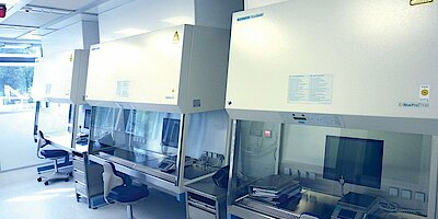Cleanroom for cytostatics laboratory, pharmacy, GMP A in B