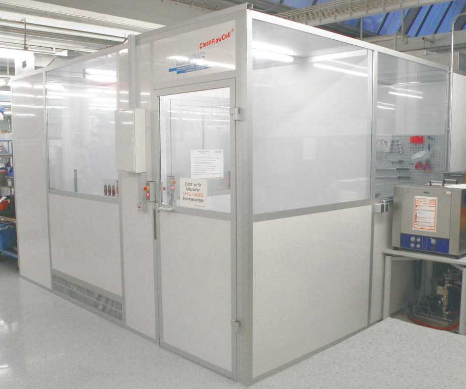 Cleanroom cabin for drive technology, cleanroom class ISO 7