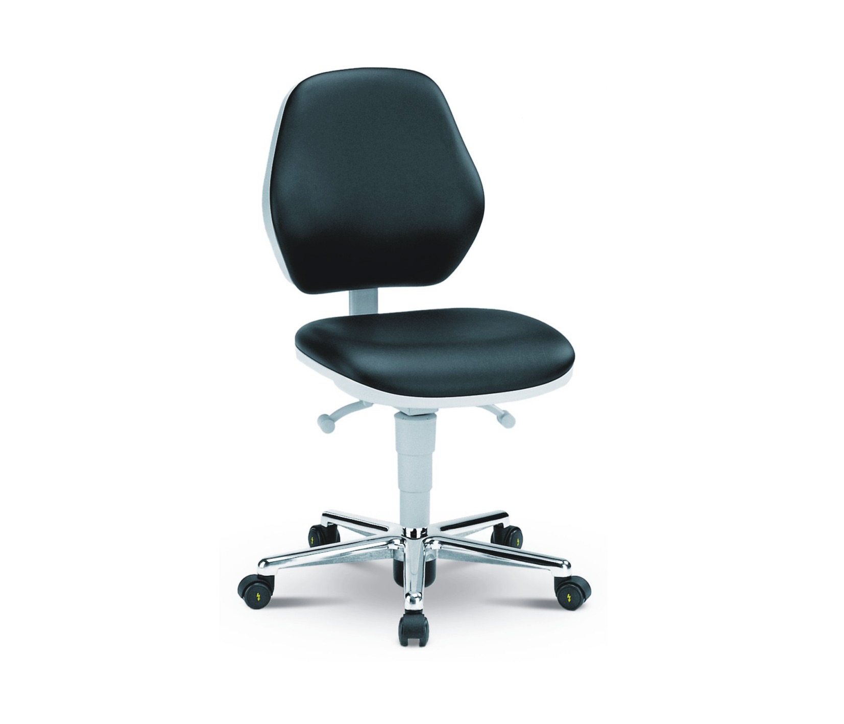 Cleanroom chair Basic with castors, low backrest, cleanroom class ISO 3
