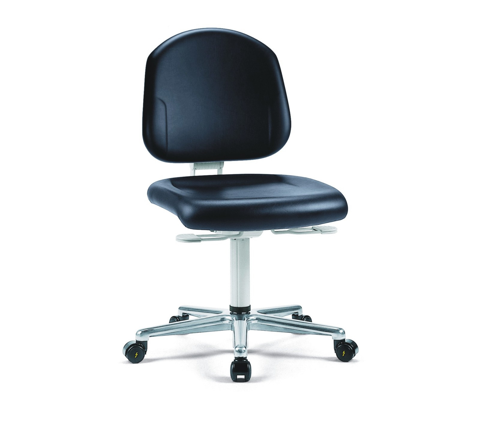 Cleanroom chair Plus with castors, low backrest, cleanroom class ISO 3