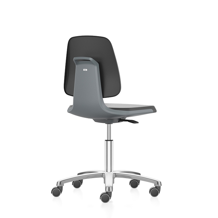 Cleanroom laboratory swivel chair ESD, low with castors, up to cleanroom class ISO 3, GMP compliant, safety class S1 to S3
