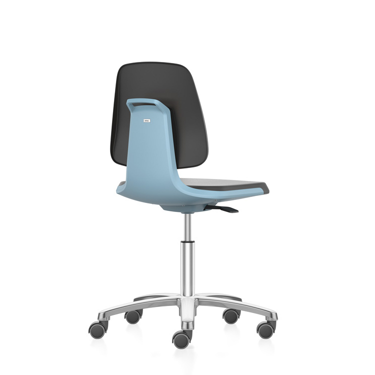 Cleanroom laboratory swivel chair low with castors, up to cleanroom class ISO 3, GMP compliant, safety class S1 to S3