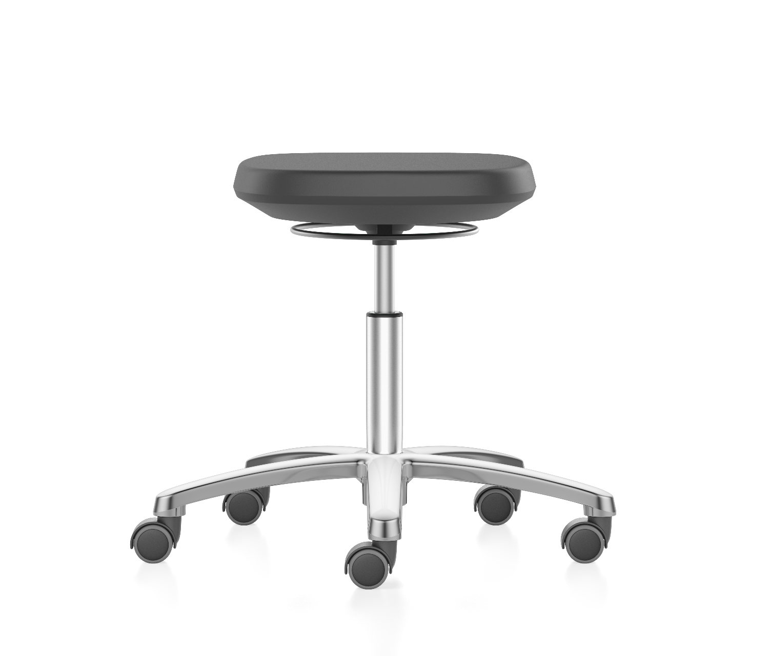 Cleanroom laboratory stool with castors, up to cleanroom class ISO 3, GMP compliant, safety class S1 to S3