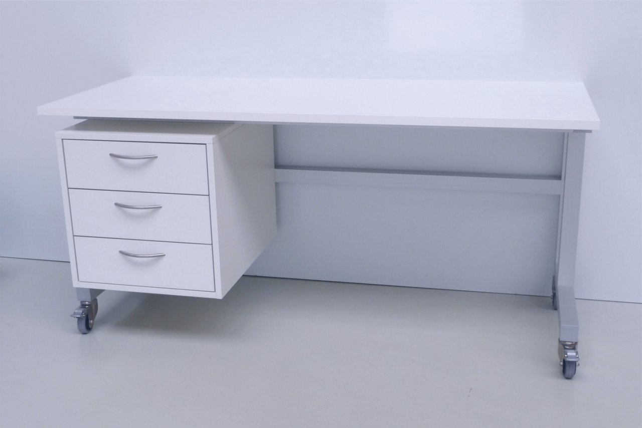 Cleanroom table with castors made of melamine for drawer base cabinet