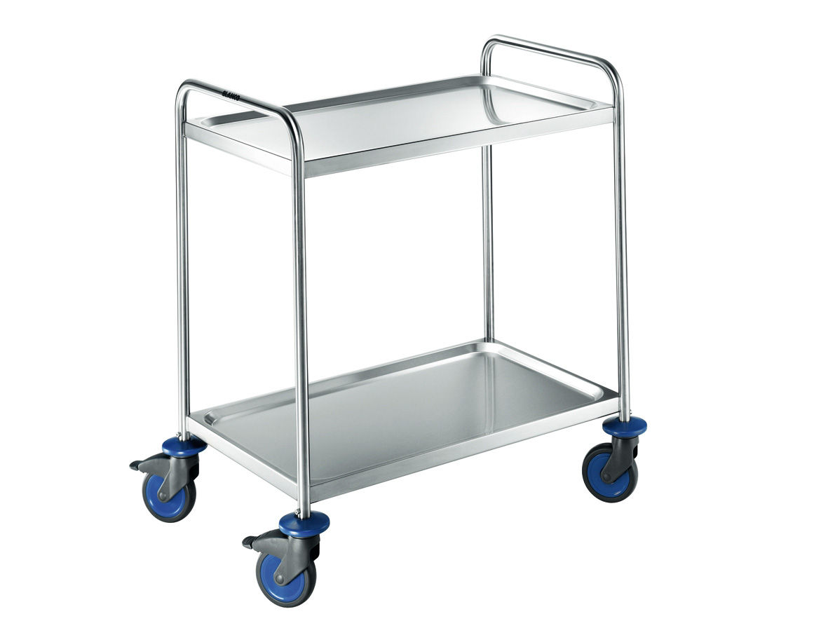 Cleanroom table multi-purpose trolley made of stainless steel with 2 shelves and castors
