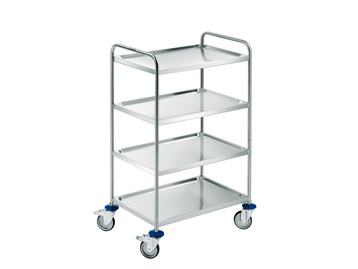 Cleanroom table multi-purpose trolley made of stainless steel with 4 shelves and castors