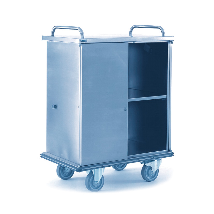 Cleanroom cupboard trolley made of stainless steel with 2 wing doors and castors