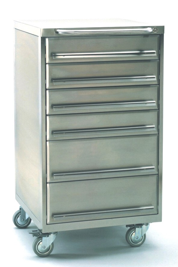 Cleanroom tool trolley made of stainless steel with 6 drawers and castors