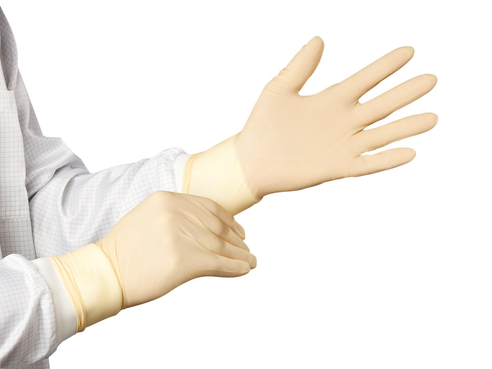 Cleanroom disposable latex gloves, powder-free